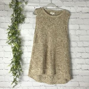 Lou & Grey Heather Tan Sleeveless Tunic Sweater XL
